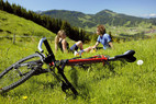 Pause beim Mountainbiking